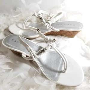 Rampage White & Silver Wedge Sandles Womens 9